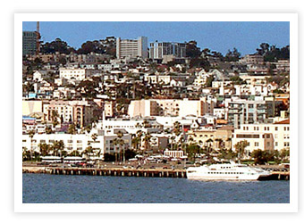 The Waterfront - The only mega yacht mooring location in Southern California.